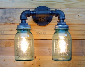 Vintage Double 1 Quart Ball Mason Jar Wall Sconce Light Black Iron Industrial Steampunk Style