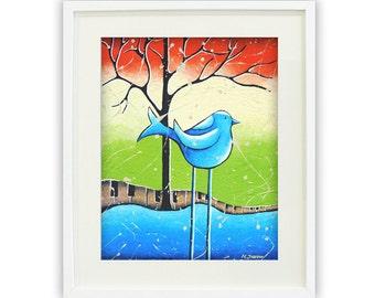 Whimsical Children Wall Art, Bird Art Giclee Print, Kids Room Decor, Signed