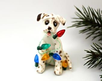 Dalmatian Liver PORCELAIN Christmas Ornament Figurine Lights OOAK