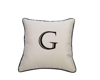 Elegant Monogram Initial Indoor / Outdoor Sunbrella Embroidered Decorative Square Throw Pillow Cover w/Insert