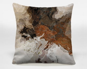 Toss pillow cover with abstract art, 16x16 and 18x18 in coffee, brown and gray, decorative pillow, accent pillow cover, Ball and Chain