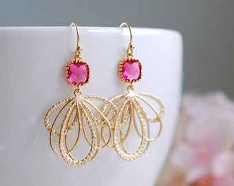 Pink Ruby Glass Dangle Earrings Fuchsia Magenta Chandelier Earrings Gold and Pink Gold Feather Earrings Gold Dangle Earrings Pink Wedding