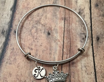 Crown initial bangle - crown jewelry, crown bangle, pageant bracelet, princess jewelry, pageant jewelry, princess crown bracelet