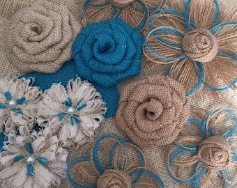 Burlap Flower Assortment - Set of 10 - Shabby Chic - Rustic