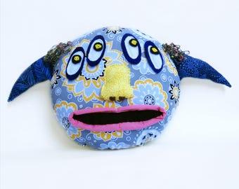 Cute, Whimsical Stuffed Monster Pillow - Unique - Handmade