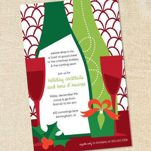 sweet wishes holiday wine tasting cocktail party invitations