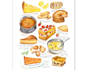 French kitchen print, Watercolor cake art print, Kitchen wall art, Food illustration print, Pastry art, Bakery painting, Colorful wall decor