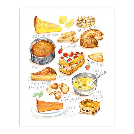 French Kitchen Print Watercolor Cake Art Print Kitchen Wall