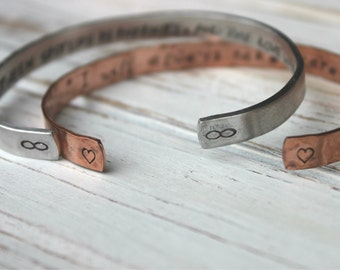 Sale. Hand Stamped Cuff Bracelet. Silver Aluminum or Copper. Personalized