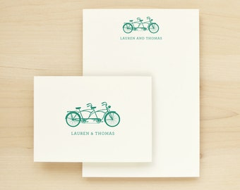 TANDEM Custom Stationery + Notepad Bundle - Custom Stationary Notecards Personalized - Bicycle Couples Anniversary Engagement Wedding Gift