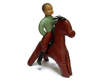 French Vintage Oil Cloth Boy Doll Riding on Horse. Cowboy and Horse Stuffed Toys. Antique Boy's Toys.