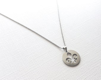 Fleur De Lis Necklace in Sterling Silver with Matte Finish