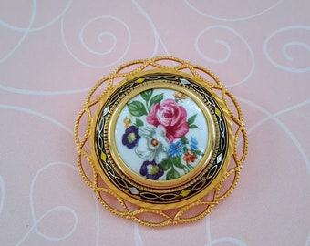 Vintage Hand-Painted China and Damascene Gold Tone Brooch