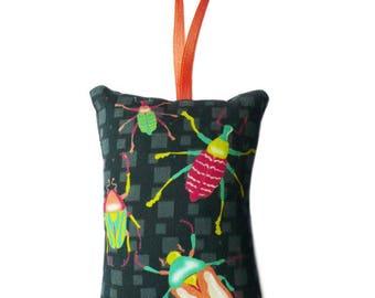 "Mini pillow to hang ""Beetles"" dark gray background"