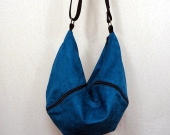 Blue teal suede lining pattern raccoon Messenger bag