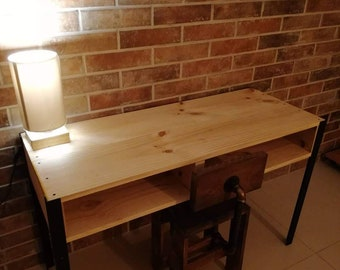 Wooden table with steel legs