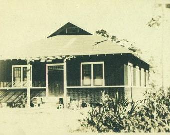 Brick House Summer Cottage Home RPPC Real Photo Postcard Vintage Antique Black White Photo Photograph