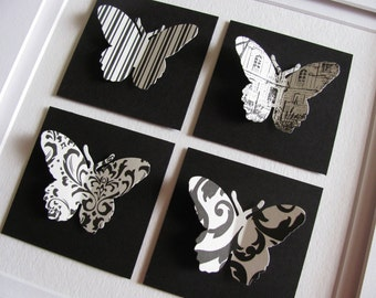 8X8 Black and Ivory 3D Butterfly Art or Your Custom Colour Choices / Paper Butterfly Art / Butterfly Assemblage / Made to Order