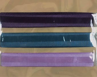 LR-132 Grosgrain, Dark Brown, Teal, and Light Purple, Adhesive Craft Ribbon