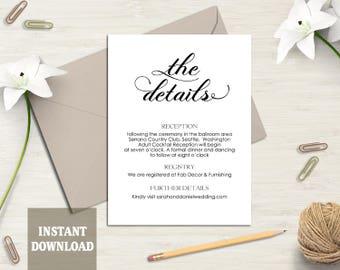 Printable Wedding Details Card Template Wedding Enclosure Card Editable Modern Script Details Card Black Calligraphy Card Download DIY- DG70