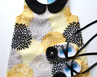 Yellow Black Grey Floral Retro A-line Dress Shoes Set Infant Outfit Baby Shoes