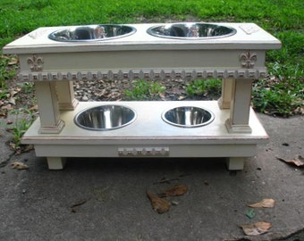 Double Elevated Dog Bowl Feeder, Two Dog Feeder, Distressed Antique White, 2 Two Quart Bowls, 1 One Quart and 1 One Pint, Two Tier Feeder