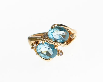 Vintage Double Blue Topaz Crystal By Pass Style Ring