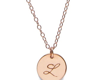Monogram Initial Necklace -  Rose Gold - Gift For Women - Bridesmaid Gifts - Personalized Jewelry - Layering Necklace - Birthday Gift Women