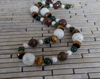 """Chunky Brown, Green & White Stone 19"""" Necklace, Tiger Eye, Howlite, Agate, Jade, Earth tone necklace, for her, brown green necklace, autumn"""
