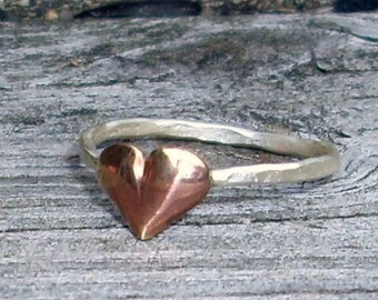 Little Puffy Heart- Sterling Silver and Brass -Stacking Ring