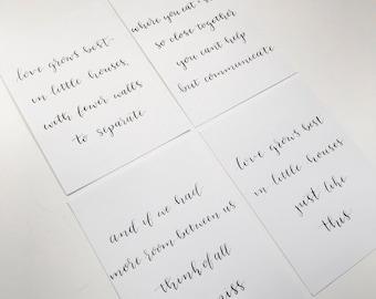 5 x 7 Custom Print I Calligraphy Print I Handlettered Print l Love Grows Best In Little Houses