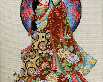 Completed embroidery counted cross stitch embroidered painting embroidered woman Joan Elliott Autumn large cross stitch ready to ship