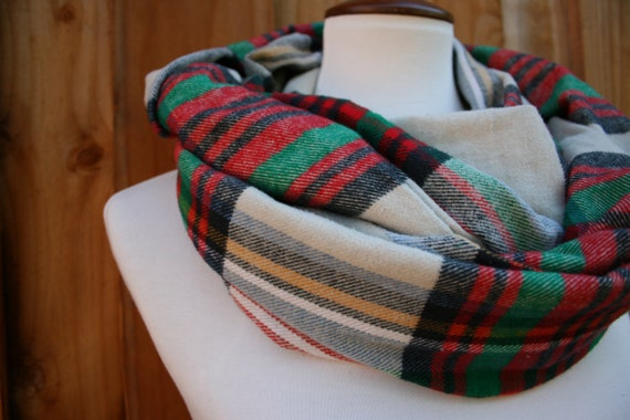 Plaid Infinity Scarf, red, olive & green Fall/ Winter wear, circular, wrap-around 66