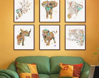 African Animals, Set of 6 Prints, Watercolor Animal Prints, Wildlife, Safari, Nursery Wall Art, Kids Room, Childrens Room, Watercolor Art