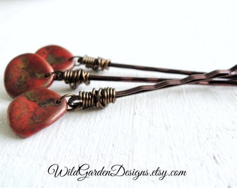Rustic Red Glass Rose Petal Hair Pins Bohemian Boho Hair Accessory Gift Set For Her Wire Wrapped Decorative Bobby Pins Artisan Czech Glass