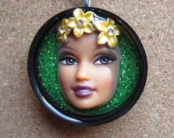 Hula Girl - Upcycled Barbie Doll Pendant