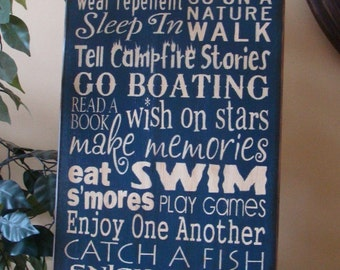 Lake Rules Subway/Typography Word Art Sign