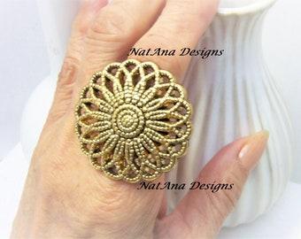 Statement Antique Gold Filigree Ring/Big Filigree Ring/Statement Gold Ring/Big Flower Ring