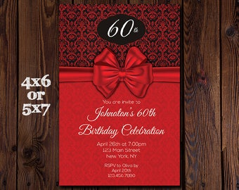 Birthday Invitation - Adult Birthday Party Invitation - Black and Red Damask