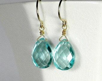 Blue Drop Earring Aquamarine Drop Earring  Blue Briolette Earring Aquamarine Earring Gold Or Sterling Silver