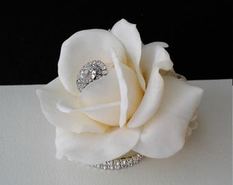 Wrist corsage ivory rose wedding corsage cream ivory rose on ivory rose wrist corsage rhinestone corsage prom corsage wedding corsage silk flower mightylinksfo Choice Image