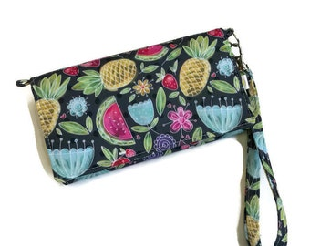Women wallet, large wallet, large women wallet, summer wallet, purse, phone purse, trifold, pineapple, watermelon, flowers, polka dot,