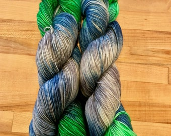 Hand-dyed Sock Yarn Variegated Green/Blue/Gray Dragonfly