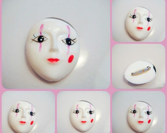 Woman Face Ceramic Vintage Clown Brooch OOAK