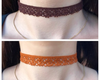 Brown or Orange Crochet Choker Necklace