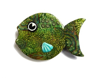 FISH BROOCH Green Fish pin Animal brooch unique olive green jewelry, Chartreuse green polymer clay artisan made jewelry, gift for fish lover