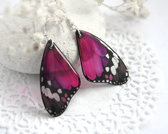 Statement jewelry Dark pink earrings for girl Gift for women jewelry butterfly earrings Crimson Animal Fuchsia jewelry Magenta earrings