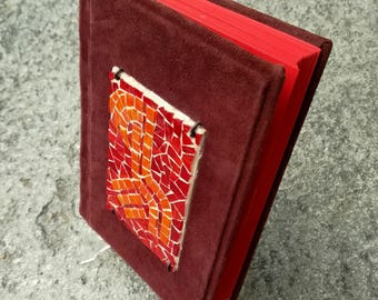 leather mosaic book / coptic book / red, burgundy suede leather / sall autumn / art mosaic / BURGUNDY NATURE