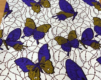 Blue and Gold Butterfly Ankara fabric, African Wax Cotton fabric, African Wax Print, African Ankara, sold by the yard