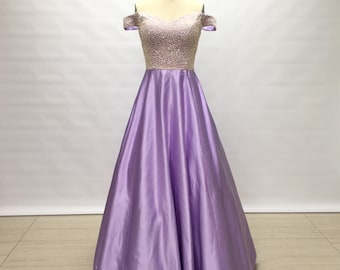 Off the Shoulder Lilac Satin Long Prom Dress 2018 Beaded Bodice